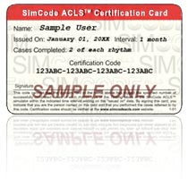 Sample SimCode ACLS™ Certification Card